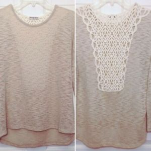 Cha Cha Vente Sweater Top Tunic Petite Large Lace